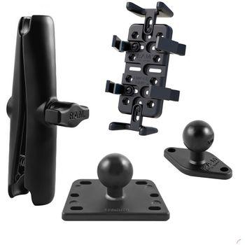 RAM Mounts univerzální držák na mobilní telefony, vysílačky, GPS navigace Finger-Grip s dlouhým ramenem na motorku na nádržku brzdové kapaliny, sestava RAM-B-182-UN4-CU